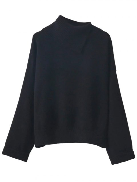 outfit Asymmetric Neck Pullover Jumper - BLACK ONE SIZE Mobile