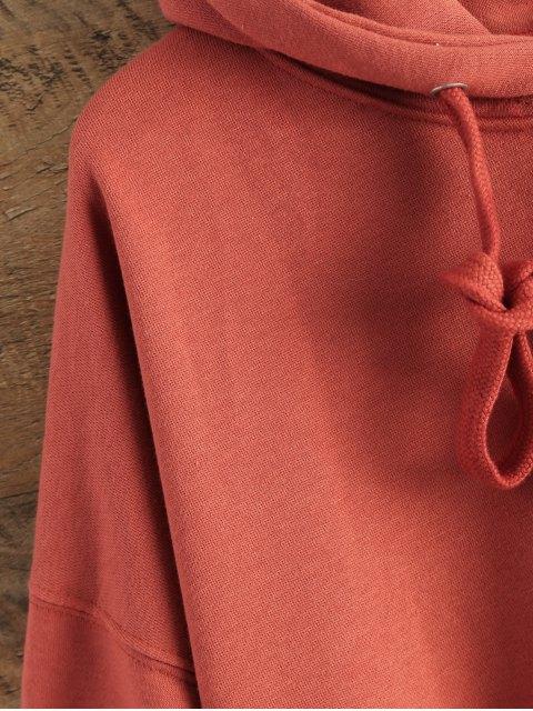 online Drop Shoulder Design Pullover Hoodie - RED ONE SIZE Mobile