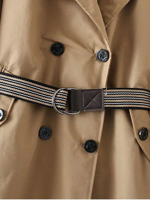 best Wide Lapel Double Breasted Trench Coat - KHAKI S Mobile