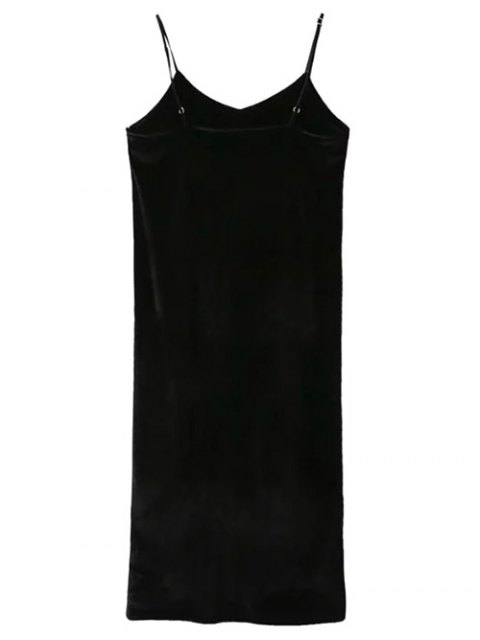 buy Pleuche Slip Dress with Letter Tee - WHITE AND BLACK M Mobile