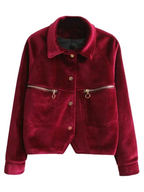 shops Graphic Embroidered Zipper Pocket Velvet Jacket - RED M Mobile