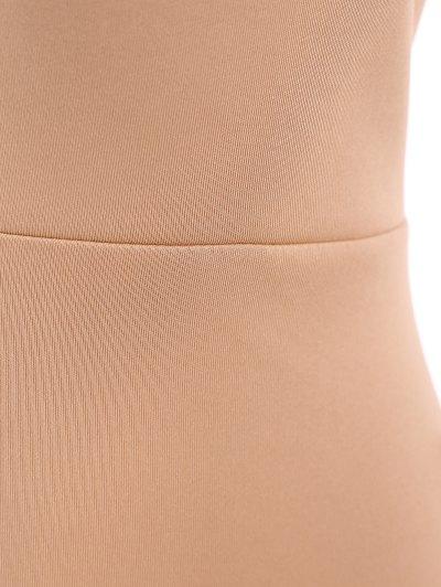 Plunging Neck Crisscross Strap Bodysuit - APRICOT XL Mobile