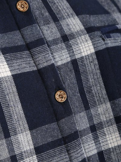 Plus Size Plaid Fleece Lined Shirt - BLACK 4XL Mobile