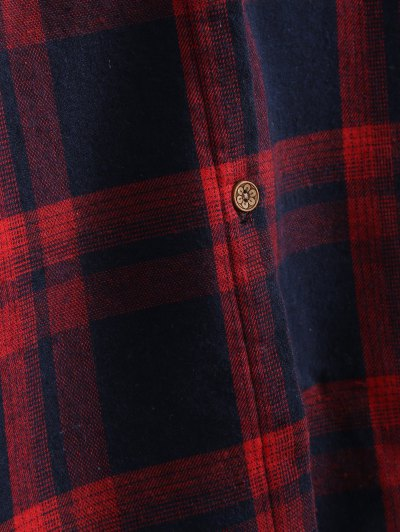 Plus Size Plaid Fleece Lined Shirt - WINE RED 3XL Mobile