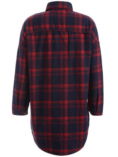 Plus Size Plaid Fleece Lined Shirt - WINE RED XL Mobile