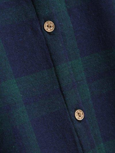Plus Size Plaid Fleece Lined Shirt - GREEN 4XL Mobile