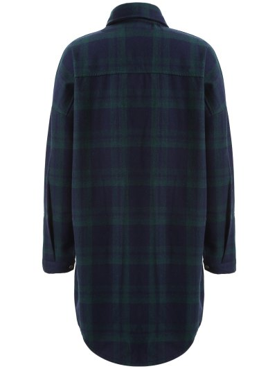 Plus Size Plaid Fleece Lined Shirt - GREEN 2XL Mobile