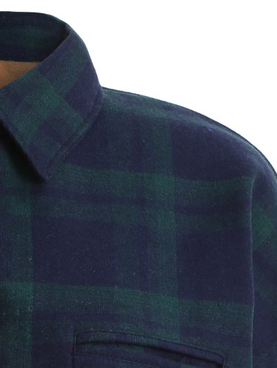 Plus Size Plaid Fleece Lined Shirt - GREEN 2XL Mobile