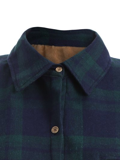 Plus Size Plaid Fleece Lined Shirt - GREEN XL Mobile