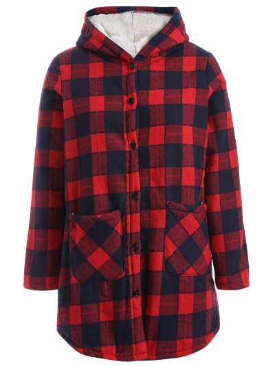 Hooded Plus Size Plaid Fleeced Coat - RED 3XL Mobile