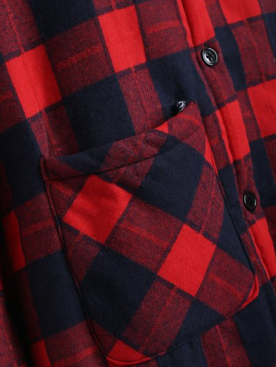 Hooded Plus Size Plaid Fleeced Coat - RED 2XL Mobile