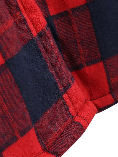 Hooded Plus Size Plaid Fleeced Coat - RED XL Mobile