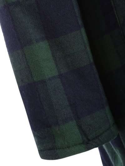 Hooded Plus Size Plaid Fleeced Coat - BLUE AND GREEN 2XL Mobile