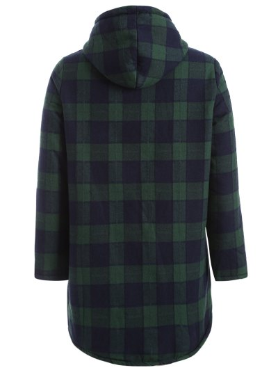 Hooded Plus Size Plaid Fleeced Coat - BLUE AND GREEN XL Mobile