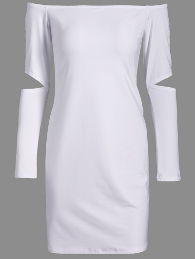 Off The Shoulder Long Sleeve Bodycon Dress - WHITE XL Mobile