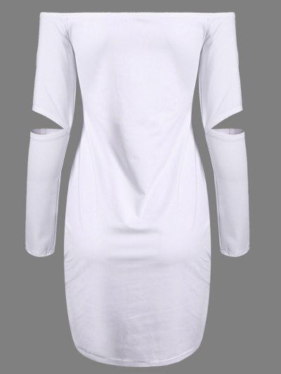 Off The Shoulder Long Sleeve Bodycon Dress - WHITE M Mobile