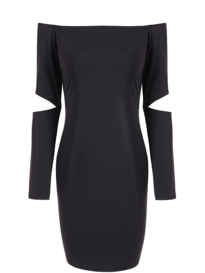 Off The Shoulder Long Sleeve Bodycon Dress - BLACK L Mobile