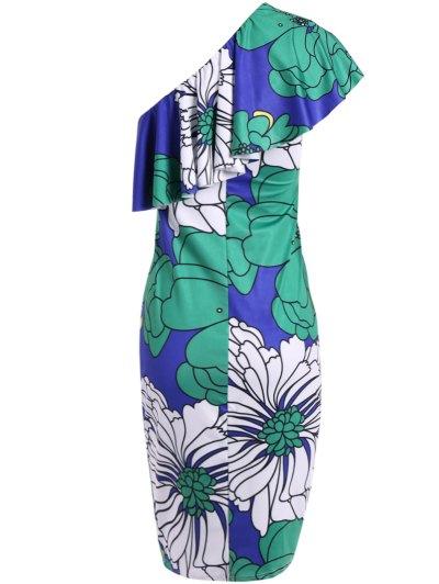 One Shoulder Floral Bodycon Dress - COLORMIX S Mobile