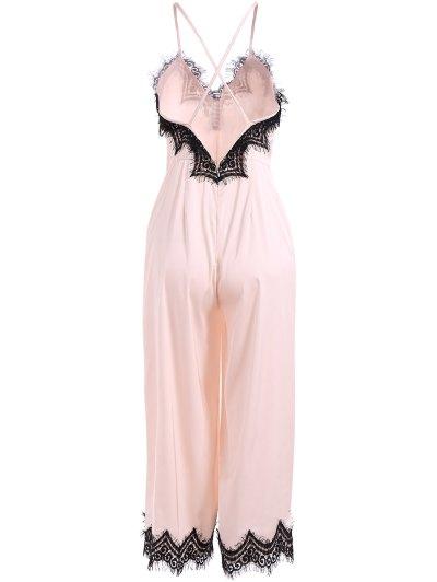 Criss Back Lace Spliced Jumpsuit - PINKBEIGE M Mobile