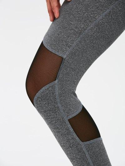 Mesh Spliced High Waist Skinny Yoga Leggings - GRAY M Mobile