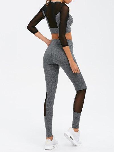 Mesh Spliced Skinny Sport Suit - GRAY L Mobile