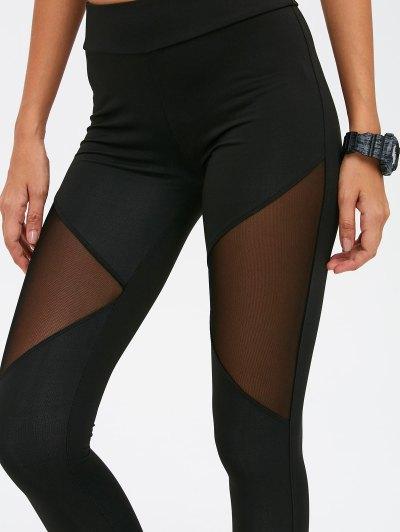 See-Through Mesh Spliced Skinny Sport Suit - BLACK M Mobile