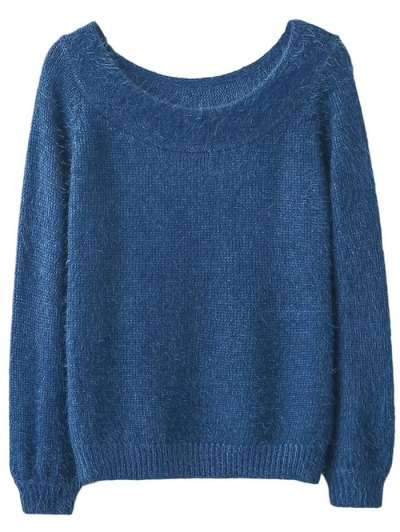 Off Shoulder Fluff Knitwear - BLUE ONE SIZE Mobile