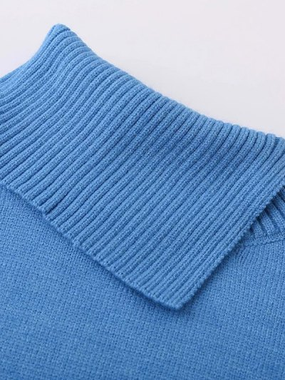 Asymmetric Neck Pullover Jumper - BLUE ONE SIZE Mobile
