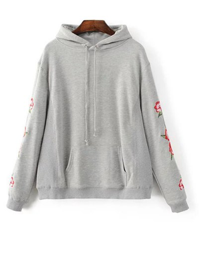 Front Pocket Floral Embroidered Hoodie - GRAY L Mobile