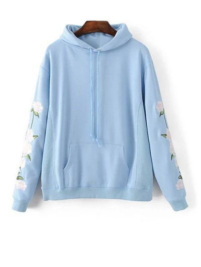 Front Pocket Floral Embroidered Hoodie - AZURE M Mobile