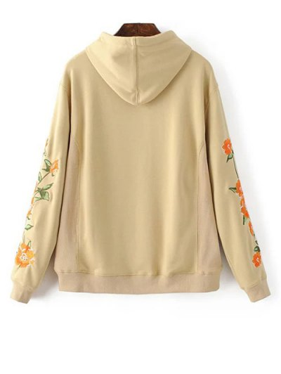 Front Pocket Floral Embroidered Hoodie - PALOMINO S Mobile