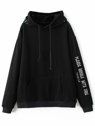 Graphic Floral Embroidered Hoodie - BLACK L Mobile