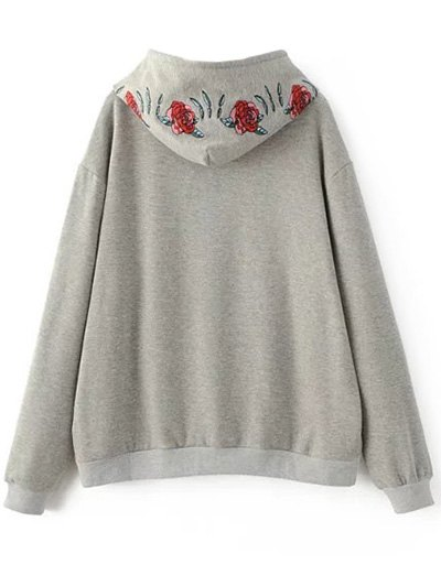 Graphic Floral Embroidered Hoodie - GRAY S Mobile