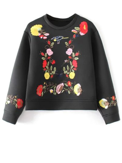 Long Sleeve Flower Embroidered Sweatshirt - BLACK M Mobile