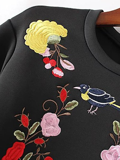 Long Sleeve Flower Embroidered Sweatshirt - GREEN L Mobile