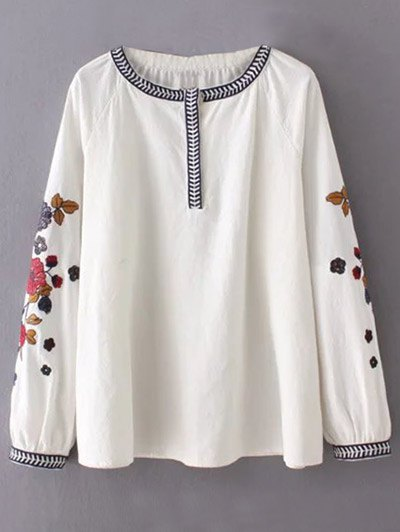 Flower Embroidered Blouse - WHITE M Mobile