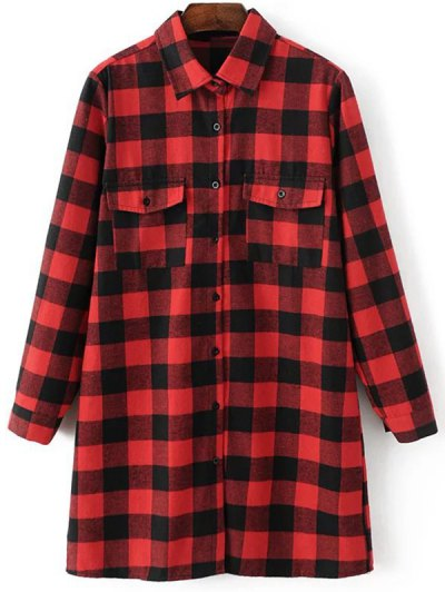 Long Sleeve Checked Boyfriend Shirt - RED M Mobile
