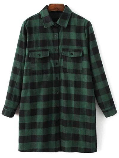 Long Sleeve Checked Boyfriend Shirt - GREEN M Mobile