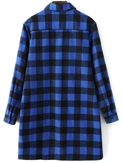 Long Sleeve Checked Boyfriend Shirt - BLUE L Mobile