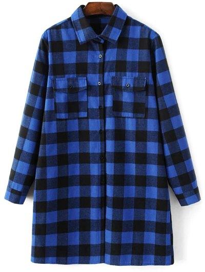 Long Sleeve Checked Boyfriend Shirt - BLUE S Mobile