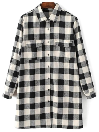 Long Sleeve Checked Boyfriend Shirt - WHITE AND BLACK S Mobile