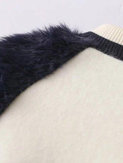 Faux Fur Panel Stand Neck Coat - WHITE L Mobile