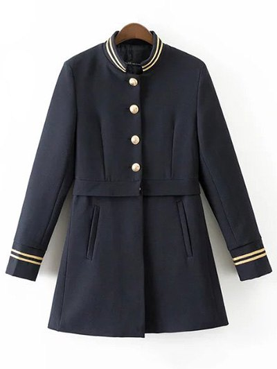 Single-Breasted Stand Neck Coat - DEEP BLUE M Mobile