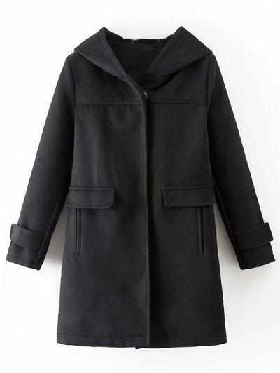 Hooded Pockets Wool Blend Coat - BLACK S Mobile