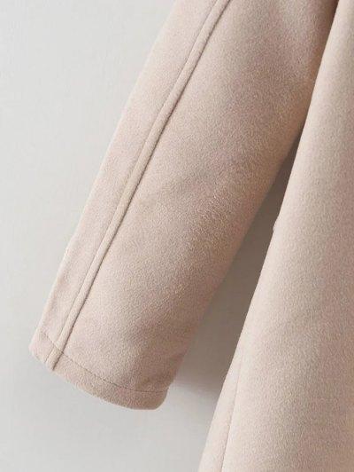 Hooded Pockets Wool Blend Coat - APRICOT L Mobile