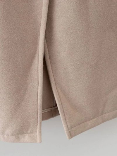 Hooded Pockets Wool Blend Coat - APRICOT S Mobile