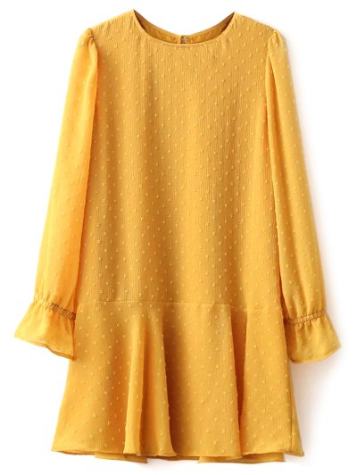 Dotted Round Neck Ruffles Shift Dress - YELLOW L Mobile