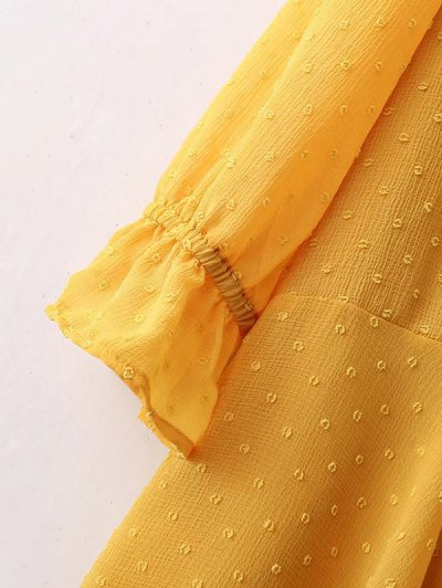 Dotted Round Neck Ruffles Shift Dress - YELLOW S Mobile