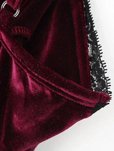 Lace Panel Pleuche Mini Cami Dress - BURGUNDY M Mobile