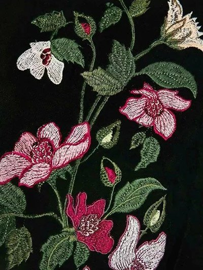 Flower Embroidered Velvet Jacket - BLACK S Mobile